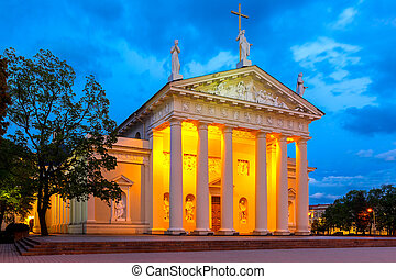 Cathedral of Vilnius in the evening, Lithuania - Cathedral...