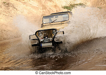 off-road - The vehicle splashing out water