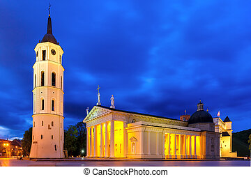 Cathedral Square in the evening, Vilnius - Cathedral Square,...