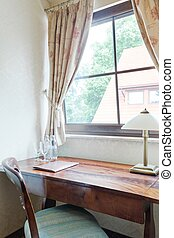 Colonial wooden desk - Close up of stylish colonial wooden...