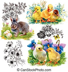Little fluffy cute watercolor ducklings, chickens and hares...