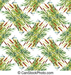 Summer Garden floral seamless pattern on white background with dragonflies