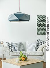Modern swag lamp - Picture of modern black swag lamp in room