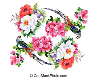 Garden flowers and pheasant birds watercolor pattern -...
