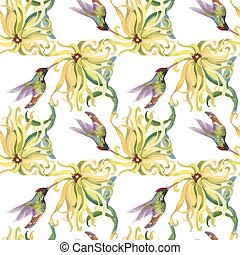 Tropical floral watercolor seamless pattern with colibris...