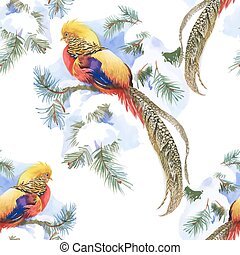 Wild Pheasant animals birds in watercolor floral seamless...
