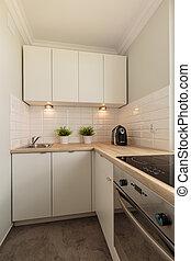 cremoso, y, moderno, cocina, espacio,