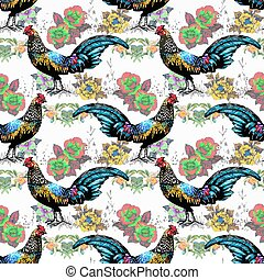Seamless watercolor pattern with farm roosters silhouettes...