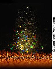 glitter vintage lights background. dark gold and black....