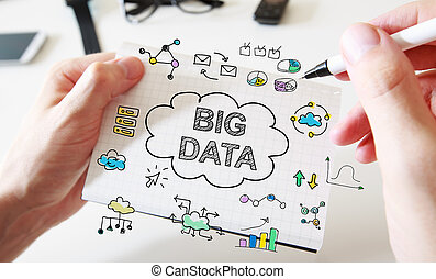 Mans hand drawing Big Data concept on notebook - Mans hand...