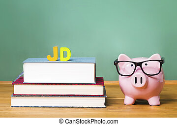 Juris Doctor law degree theme with pink piggy bank