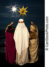 Christmas star and wise men - Wisemen played by three girls...