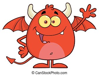 Happy Red Devil Character Waving - Happy Red Devil Cartoon...