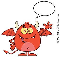 Red Devil With Speech Bubble - Smiling Red Devil Cartoon...