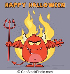 Evil Red Devil Cartoon Character