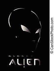Alien, Alien face. Alien head - Alien, Hidden Metallic...