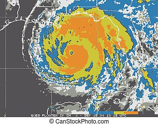 hurricane map  - actual radar hurricae map, vector, color,