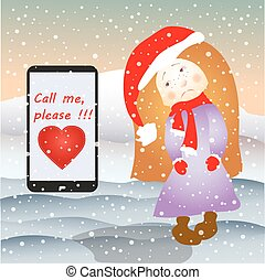Sad girl and mobile phone SMS or email, under the snow,...