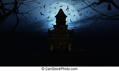 3D Halloween background with spooky castle - 3D render of a...