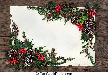 Traditional Winter Border - Winter and christamas background...