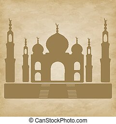 Taj Mahal on grunge background - Mosque Taj Mahal isolated...