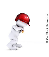 morph man playing baseball - 3d render of morph man playing...