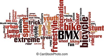 BMX word cloud concept. Vector illustration