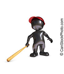 morph man playing baseball - 3d render of morph man playing...