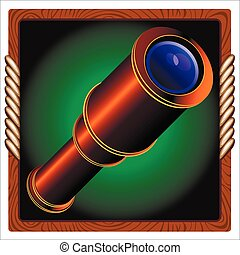 spyglass - games icon with vintage pirate telescope inside