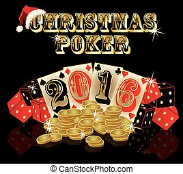Christmas poker background, vector illustration
