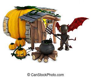 3D Morph Man Daemon with pumpkins - 3D Render of Morph Man...