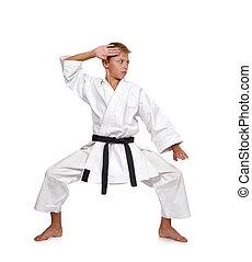 boy in white kimono - young karate boy in white kimono with...