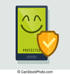 Smart Phone Protected With Anti Virus - Smart phone happy...