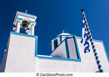 Blue White orthodox church at Firopotamos, Milos island,...