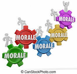 Morale Gears Workers Marching Climbing Up Team Spirit Mood Attitude