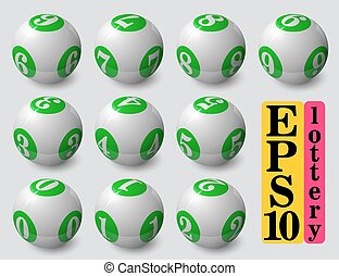 green lottery balls set. with soft shadow and reflection.