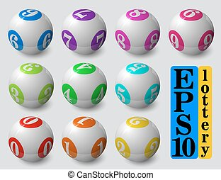 lottery balls set. with soft shadow and reflection.