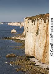 Cliffs in Etretat, Cote dAlbatre, Pays de Caux,...
