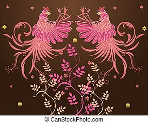 Vector abstract Rooster Fighting - Vector batik design,...