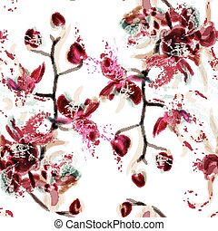 Abstract floral seamless pattern with orchid flowers painted in watercolor style by spots