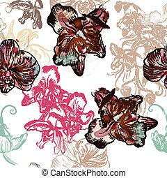 Floral seamless pattern with orchid flowers painted in watercolor style by spots