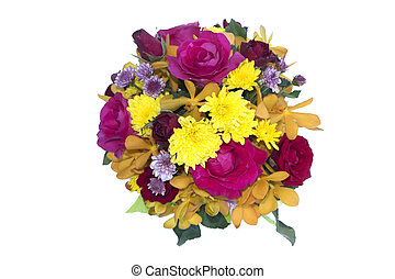 flowers. bouquet of roses in a bucket on white background