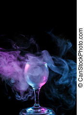 Blue and purple smoke in the glass Halloween - Abstract art...