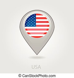 United States of America flag pin map icon