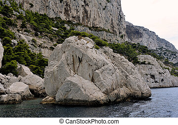 Coastal landscape between Cassis and Marseille in the...