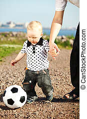 boy play soccer - little boy play soccer outdoor