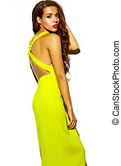fashion glamor stylish beautiful  young woman model with red lips in summer bright colorful   yellow dress isolated on white
