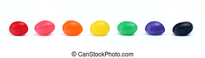 Jelly Beans - Multicolored jelly beans isolated on a white...