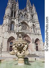Fountain in the Cathedral of Burgos, Castilla y Leon, Spain