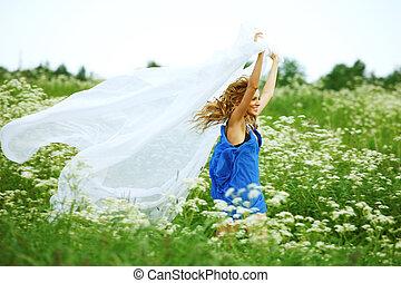 summer fly - girl run  fabric in she hands